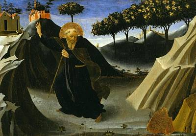 Shunned Painting - Saint Anthony Abbot Shunning The Mass Of Gold by Fra Angelico