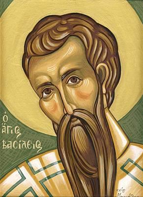 Egg Tempera Painting - Saint Basil  Agios Basilios by Mariela Constantinidis