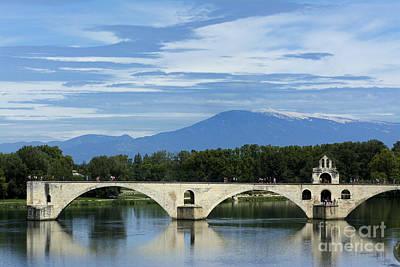 Saint Benezet Bridge Over The River Rhone. View On Mont Ventoux. Avignon. France Print by Bernard Jaubert