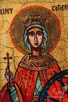 Jesus Christ Icon Painting - Saint Catherine Of Alexandria  by Ryszard Sleczka