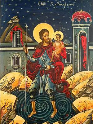 Saint Christopher And The Christ Child Romanian Byzantine Icon Handmade Painting Print by Denise ClemencoIcons