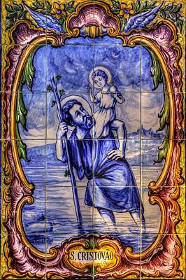 Saint Christopher Carrying The Christ Child Across The River - Near Entrance To The Carmel Mission Print by Michael Mazaika