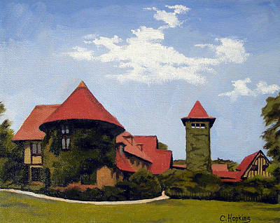 New England Lighthouse Painting - Saint Clements Castle Portland Connecticut by Christine Hopkins