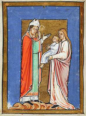 Saint Cuthbert Healing A Child Print by British Library
