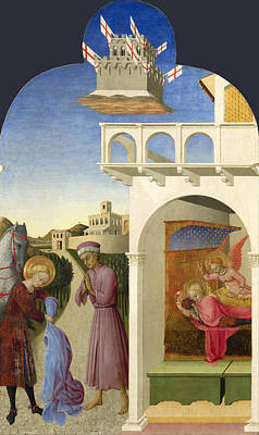 Vision Painting - Saint Francis And The Poor Knight And Francis Vision by Sassetta