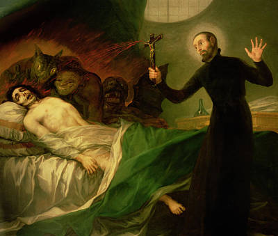 Saint Francis Borgia Helping A Dying Impenitent Print by Goya
