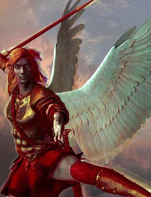 Angel Painting - Saint Gabriel The Archangel by Suzanne Silvir