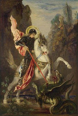 Saint George And The Dragon Print by Gustave Moreau