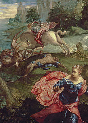 Dragon Painting - Saint George And The Dragon  by Jacopo Robusti Tintoretto
