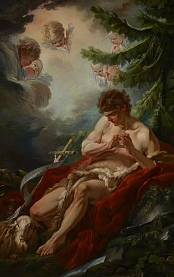 Lamb Of God Painting - Saint John The Baptist by Francois Boucher