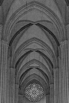 Religion Photograph - Saint John The Divine Cathedral Arches And Rose Window Bw by Susan Candelario