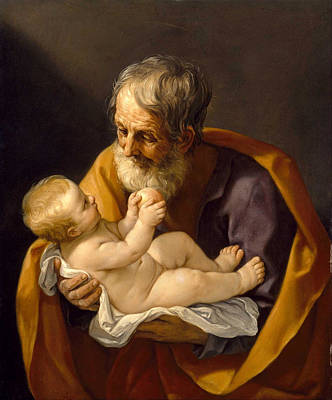 Guido Reni Painting - Saint Joseph And The Christ Child by Guido Reni
