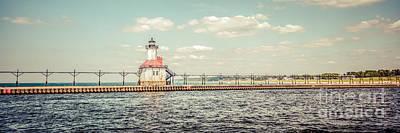 Saint Joseph Lighthouse Retro Panorama Photo Print by Paul Velgos