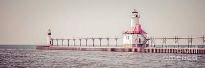 Saint Joseph Michigan Lighthouse Panorama Picture  Print by Paul Velgos
