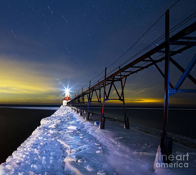 Snowy Night Photograph - Saint Joseph Pier In Evening by Twenty Two North Photography