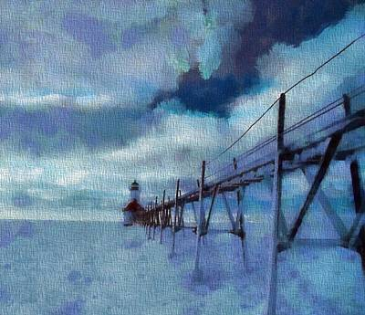 Winter Storm Painting - Saint Joseph Pier Lighthouse In Winter by Dan Sproul