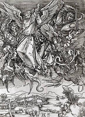 Saint Michael And The Dragon Print by Albrecht Durer or Duerer