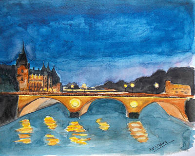 Watercolor Painting - Saint-michael Bvd. Paris by Keshava Shukla