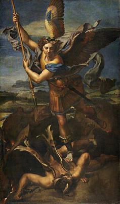 Saint Michael Vanquishing Satan Print by Raphael