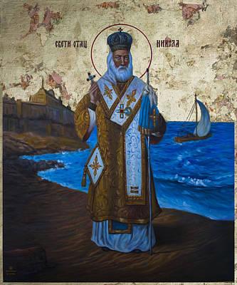 Byzantine Icon Painting - Saint Nicholas by Aleksandar Tesanovic