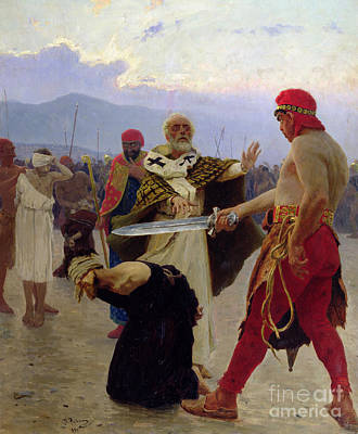 Justice Painting - Saint Nicholas Of Myra Saves Three Innocents From Death by Ilya Efimovich Repin