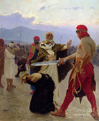 Beheading Painting - Saint Nicholas Of Myra Saves Three Innocents From Death by Ilya Efimovich Repin