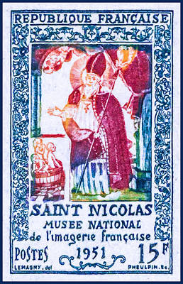 Lacrosse Painting - Saint Nicolas National Museum Imaging Of The French In 1951 Stamp by Lanjee Chee