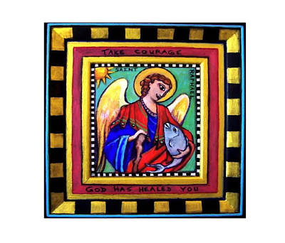 Saint Raphael The Archangel God Has Healed You Print by Dana Vacca