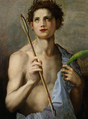 Religious Art Painting - Saint Sebastian Holding Two Arrows And The Martyr's Palm by Andrea Del Sarto