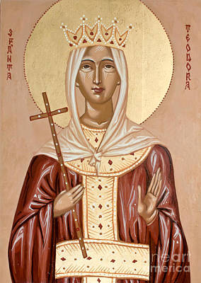 Handpainted Icon Painting - Saint Theodora Of Arta by Olimpia - Hinamatsuri Barbu