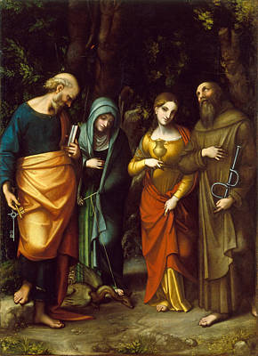 Martha Mary Painting - Saints Peter Martha Mary Magdalen And Leonard by Correggio