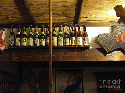 Sake Bottle Photograph - Sake Collection In Japanese Home Dinning Room by Feile Case