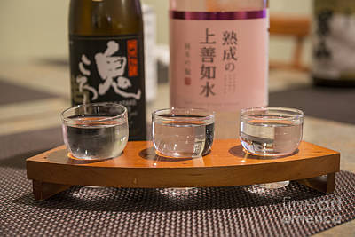 Sake Bottle Photograph - Sake Trio - A Variety Of Sake To Taste. by Jamie Pham