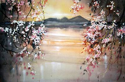 Sakura Painting - Sakura Curtain by Peggy Burkosky