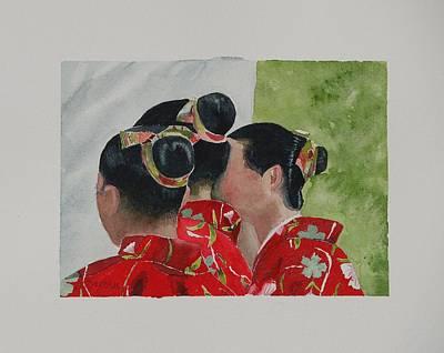 Sakura Painting - Sakura Geishas by Teresita Abad Doebley