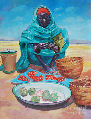 Painting - Saleswoman  2 by Mohamed Fadul