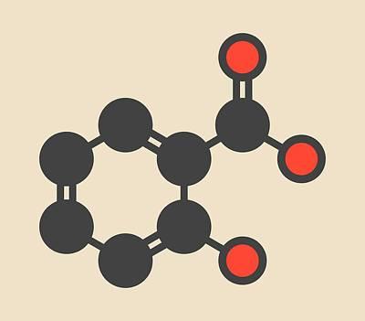 Salicylic Acid Molecule Print by Molekuul