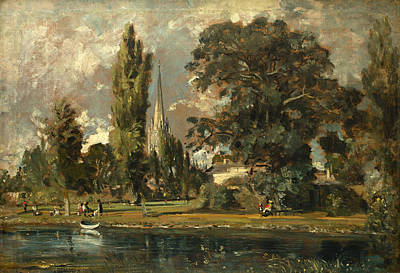 John Constable Painting - Salisbury Cathedral And Leadenhall From The River Avon by John Constable
