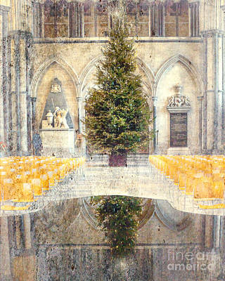 Nativity Digital Art - Salisbury Cathedral Christmas Interior by Linsey Williams