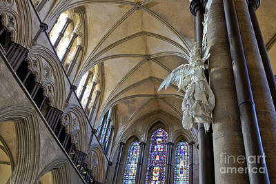 Salisbury Cathedral Vaulted Ceiling And Peter Rush Angel Print by Terri Waters