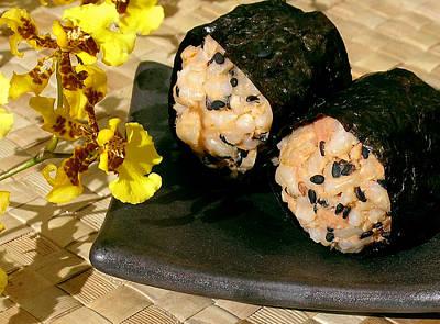 Salmon And Black Sesame Onigiri Print by James Temple