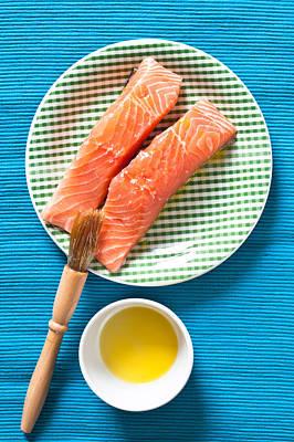 Salmon Fillets Print by Tom Gowanlock