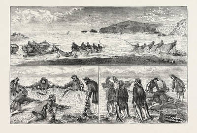 Salmon Drawing - Salmon Fishing Fishing Salmon, Mouth Of The River Tivey by English School