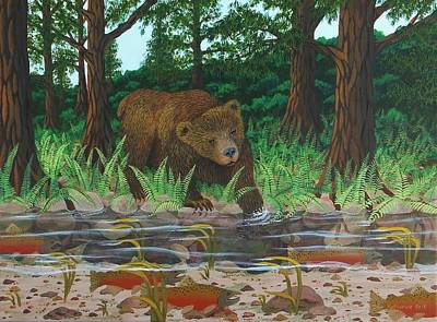 Salmon Painting - Salmon Fishing by Katherine Young-Beck