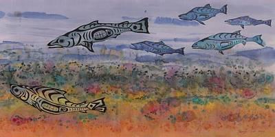 Salmon In The Stream Original by Carolyn Doe