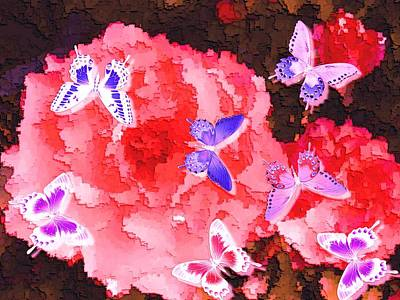 Salmon Pink Rose Fantasy Glowing Butterflies Enhanced Print by L Brown