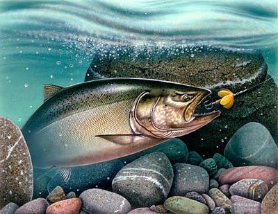 Angling Painting - Salmon Stream by Jon Q Wright