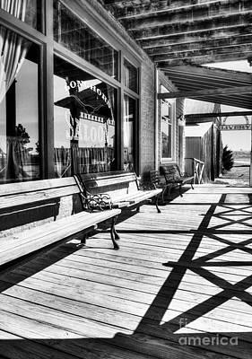 Window Bench Photograph - Saloon Shadows Bw by Mel Steinhauer
