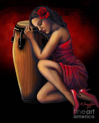 Congas Painting - Salsa Heartbeat by Tammy Yee