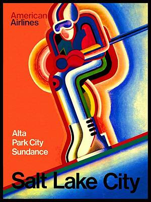 Airlines Drawing - Salt Lake City 2002 Olympic Games American Airlines Advertisement by Movie Poster Prints